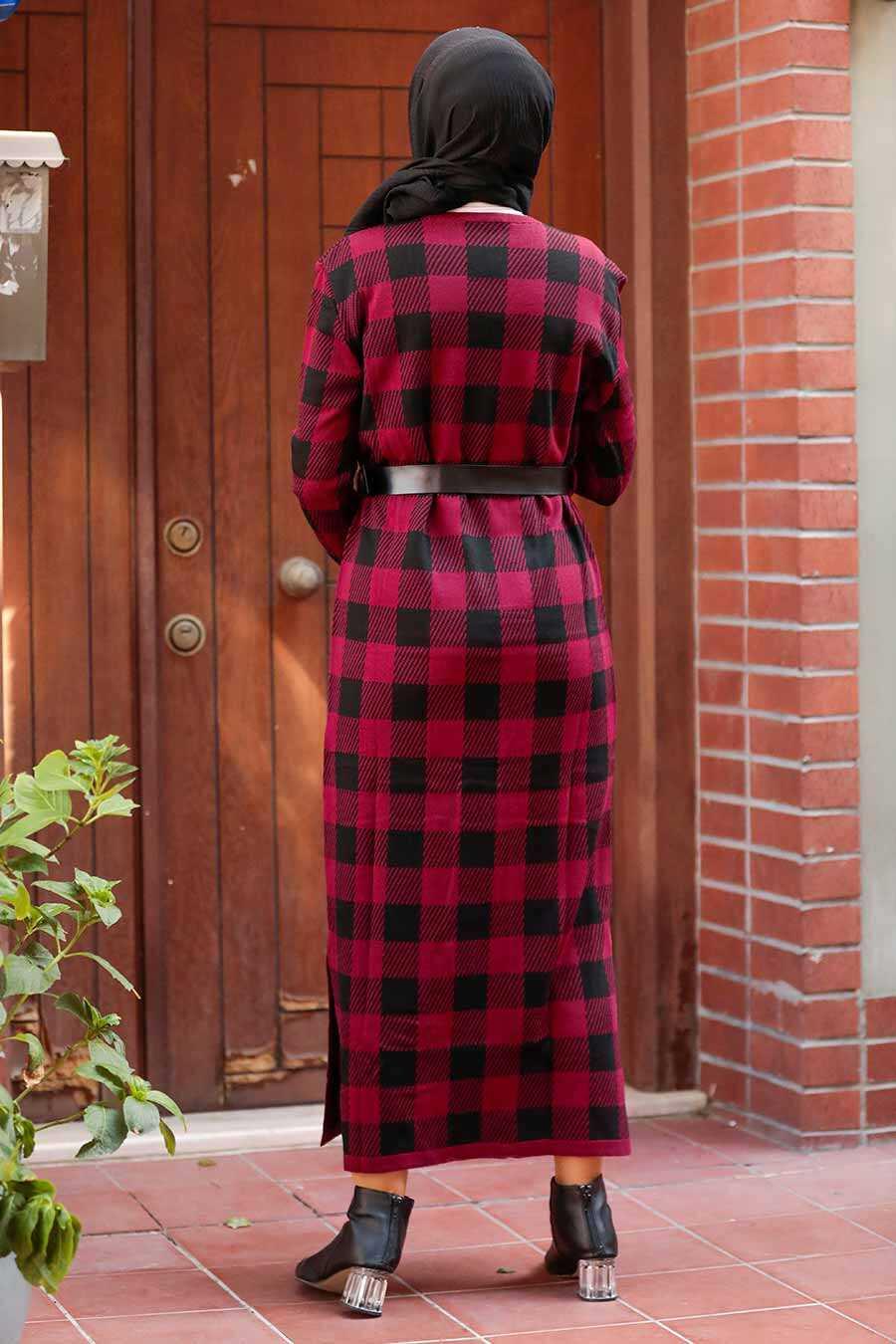 Claret Red Hijab Knitwear Dress 3048BR