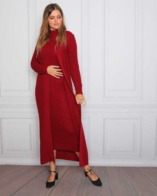 Claret Red Hijab Knitwear Suit 1623BR