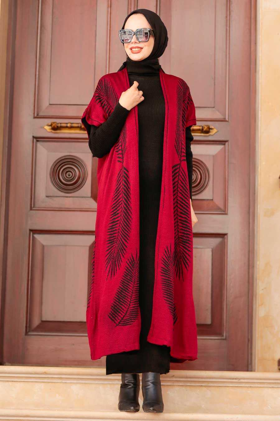 Claret Red Hijab Knitwear Suit Dress 3183BR