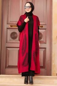 Claret Red Hijab Knitwear Suit Dress 3183BR - Thumbnail