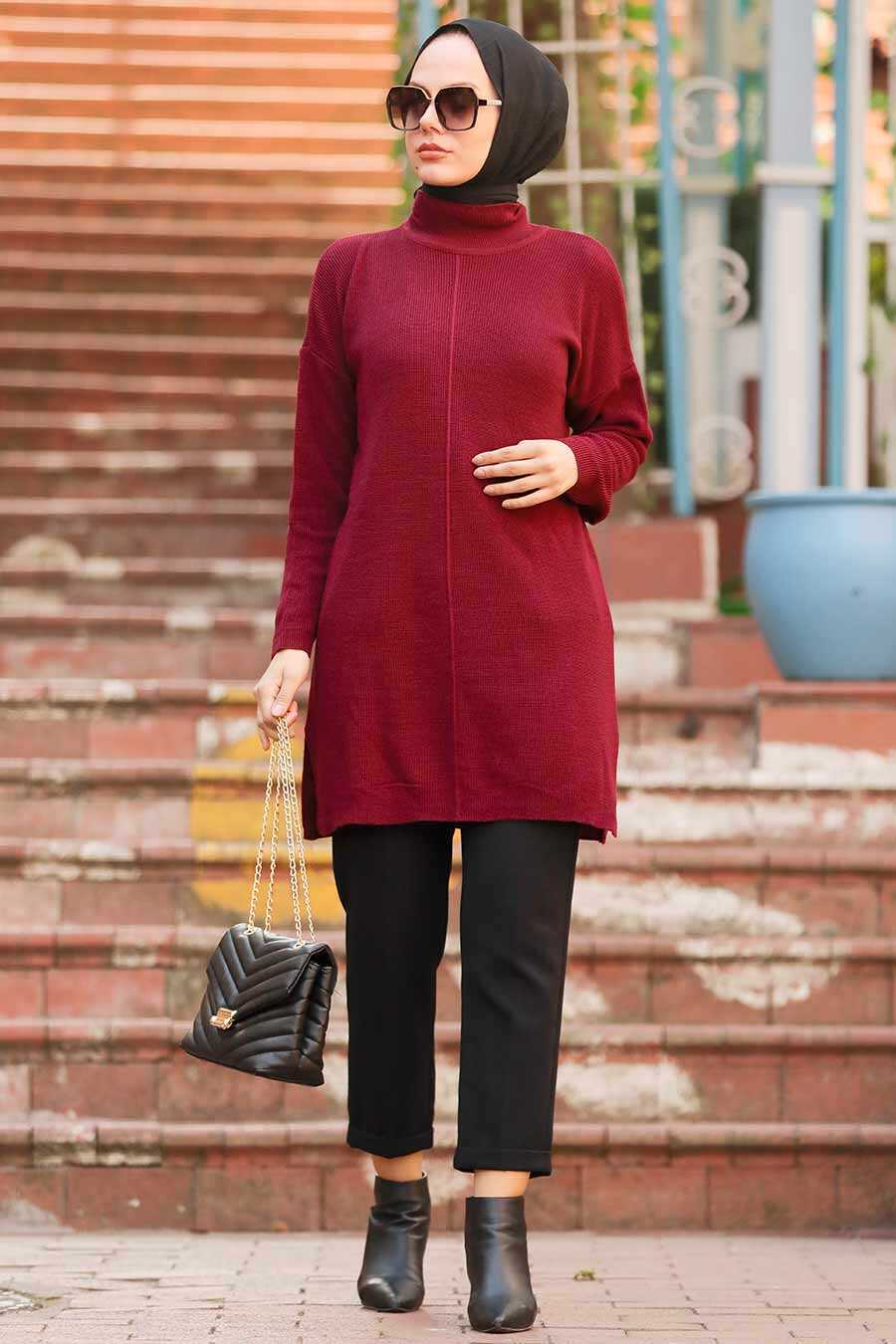 Claret Red Hijab Knitwear Tunic 18441BR