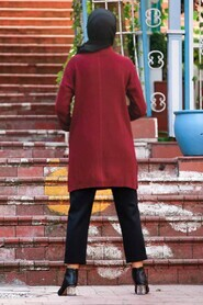 Claret Red Hijab Knitwear Tunic 18441BR - Thumbnail
