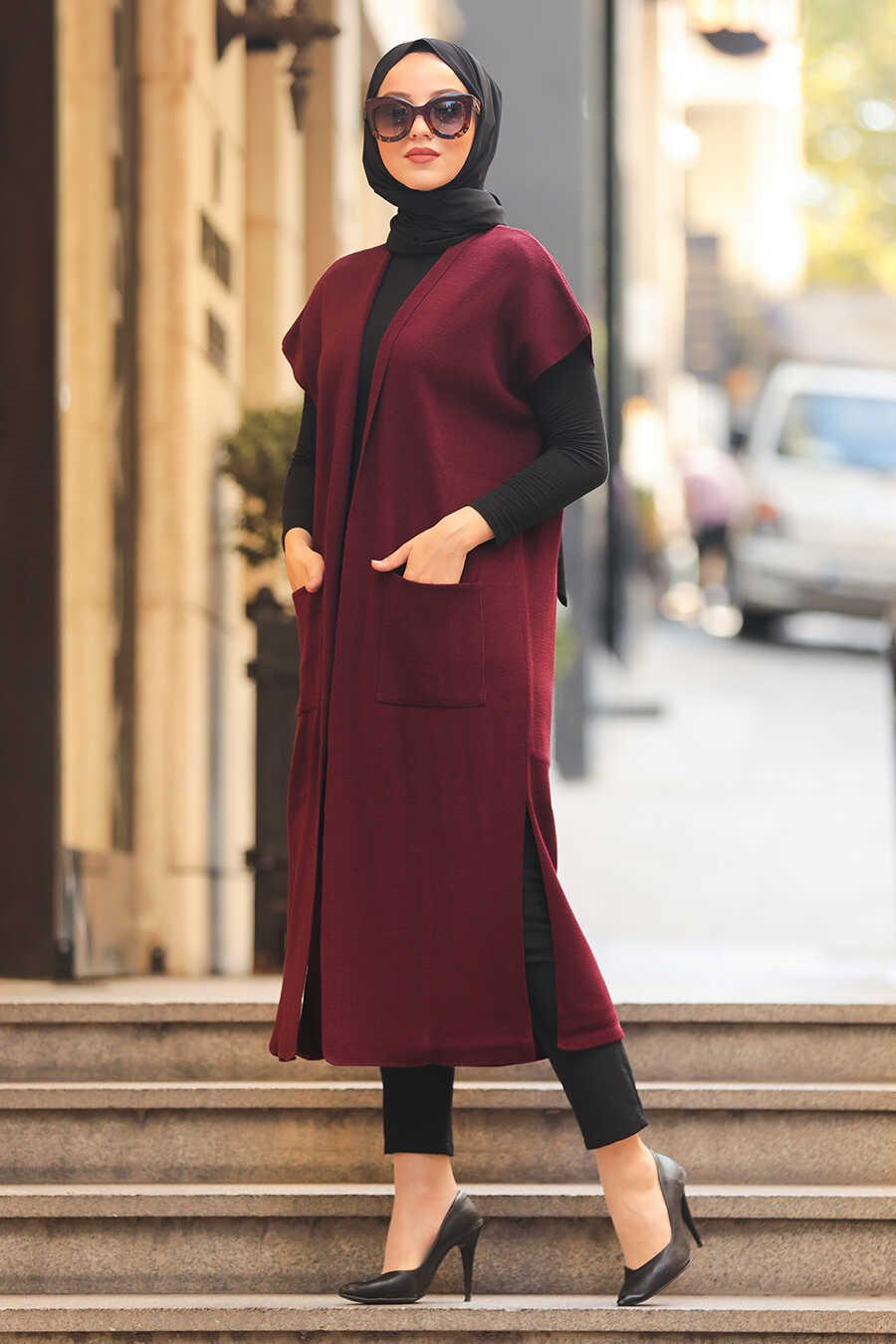 Claret Red Hijab Knitwear Vest 21920BR