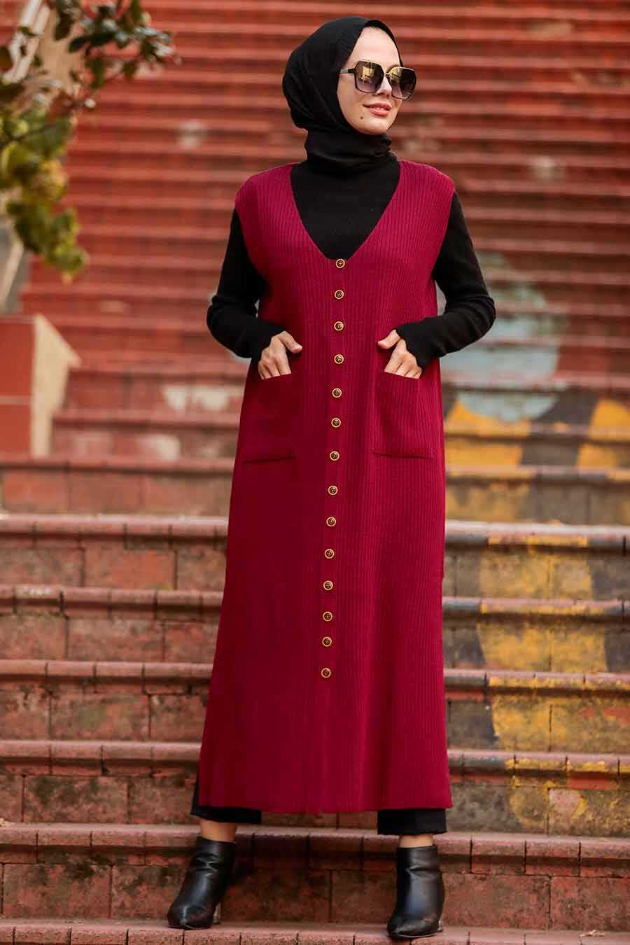 Claret Red Hijab Knitwear Vest 3324BR