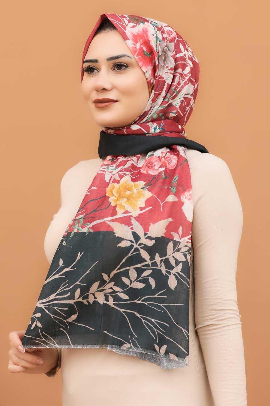 Claret Red Hijab Shawl 7565BR
