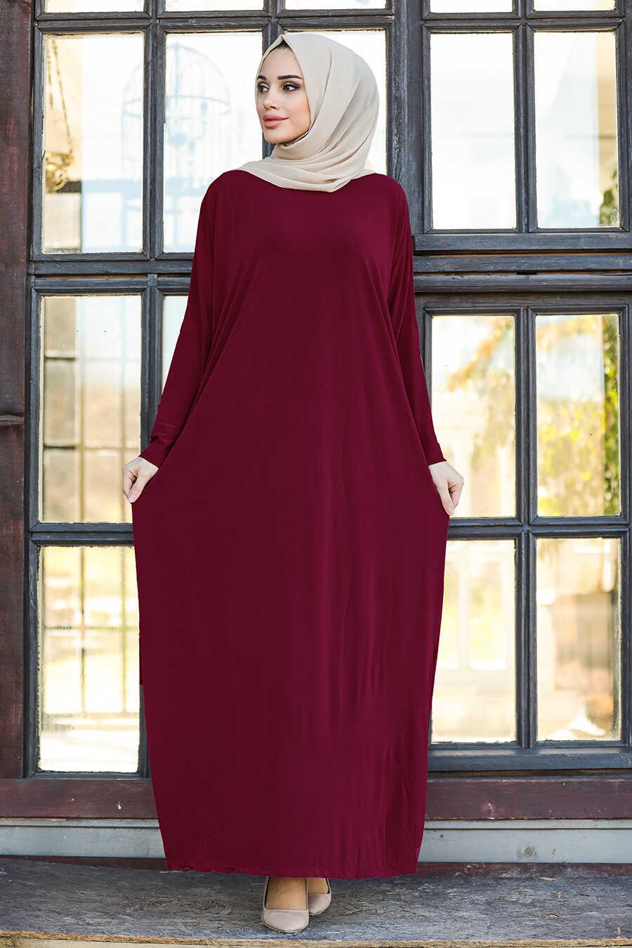 Claret Red Hijab Turkish Abaya 17801BR