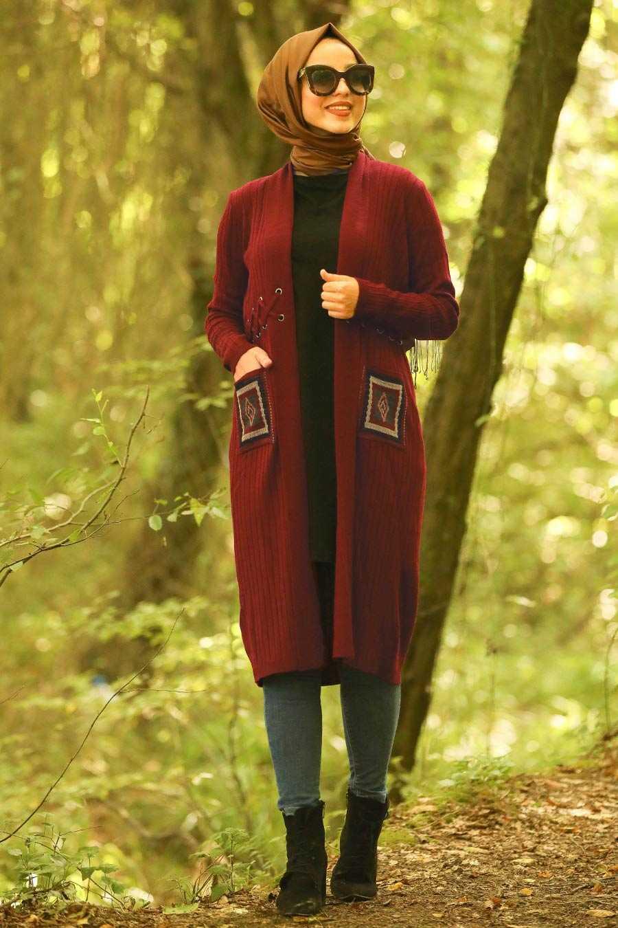 Claret Red Hijab Cardigan 14711BR