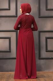 Claret Red Hijab Evening Dress 90000BR - Thumbnail