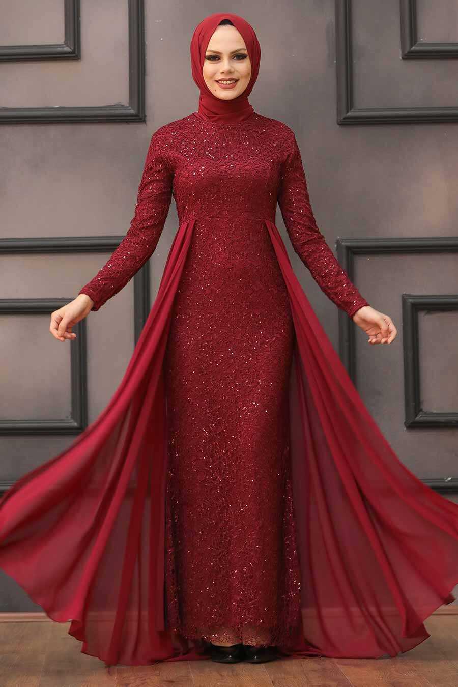 Claret Red Hijab Evening Dress 90000BR