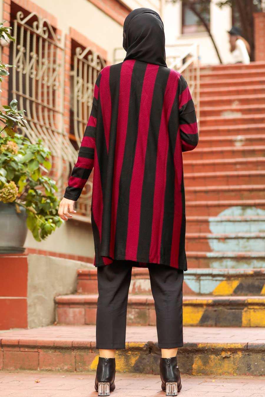 Claret Red Hijab Knitwear Tunic 33210BR