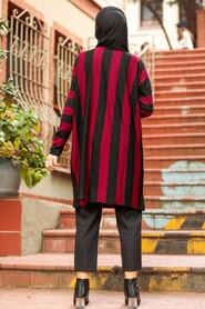 Claret Red Hijab Knitwear Tunic 33210BR - Thumbnail