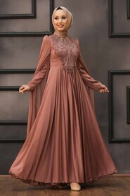 Cooper Hijab Evening Dress 22140BKR - Thumbnail