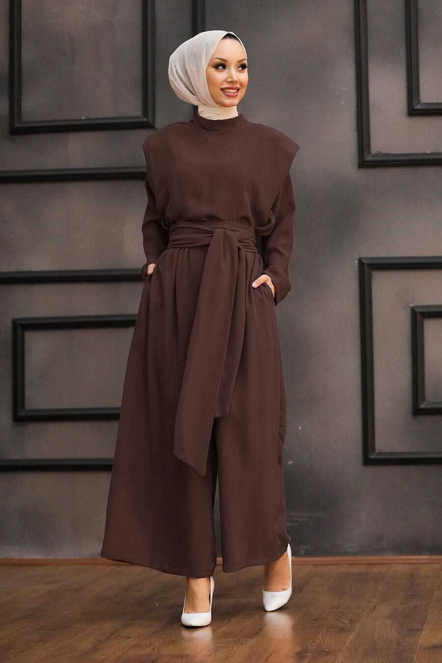 Dark Brown Hijab Dual Suit Dress 1471KKH