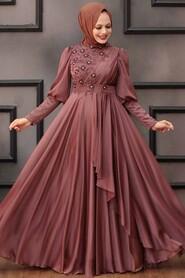 Dark Cooper Hijab Evening Dress 21930KBKR - Thumbnail