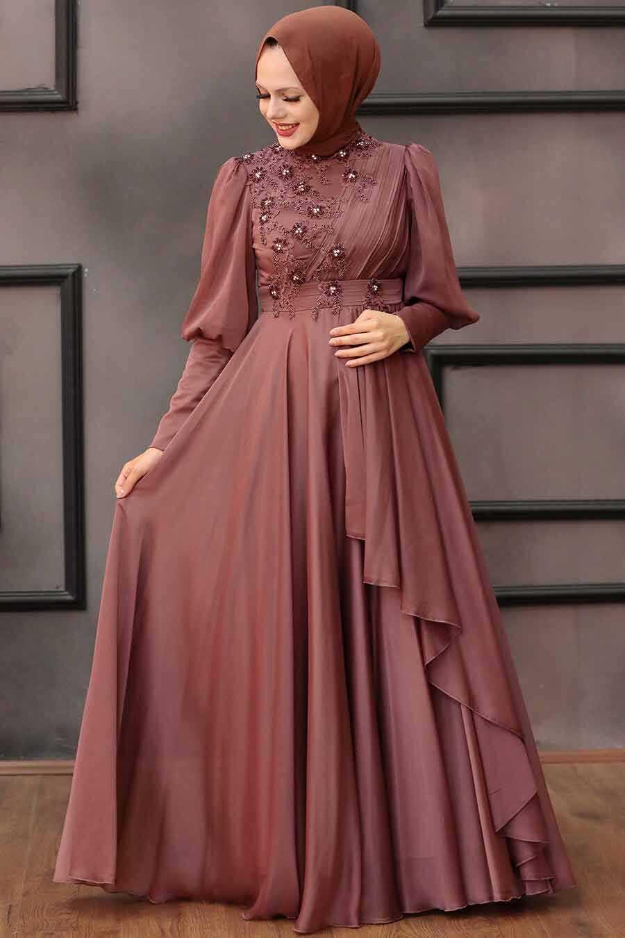 Dark Cooper Hijab Evening Dress 21930KBKR