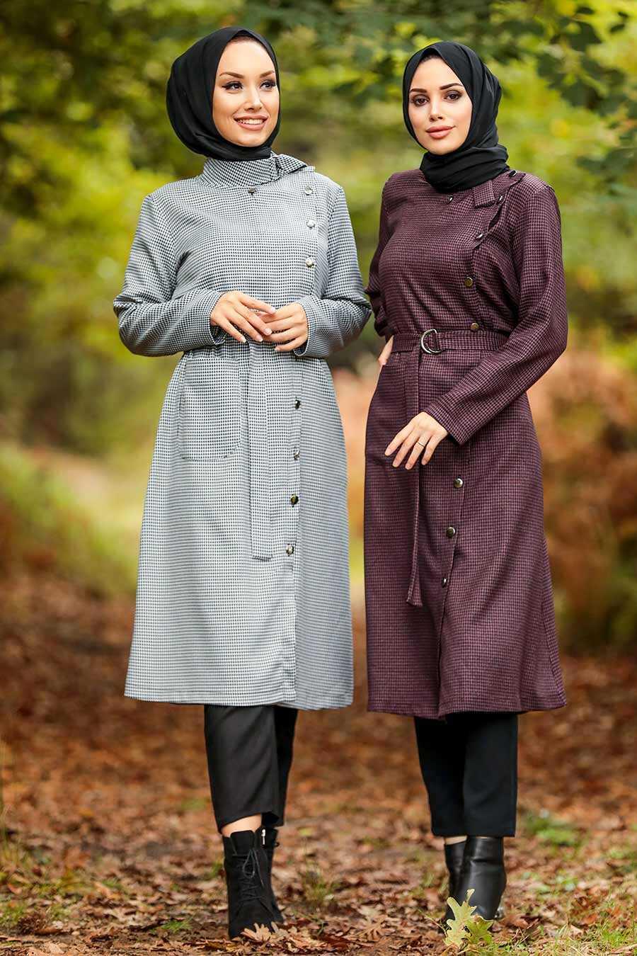 Dark Dusty Rose Hijab Coat 5575KGK