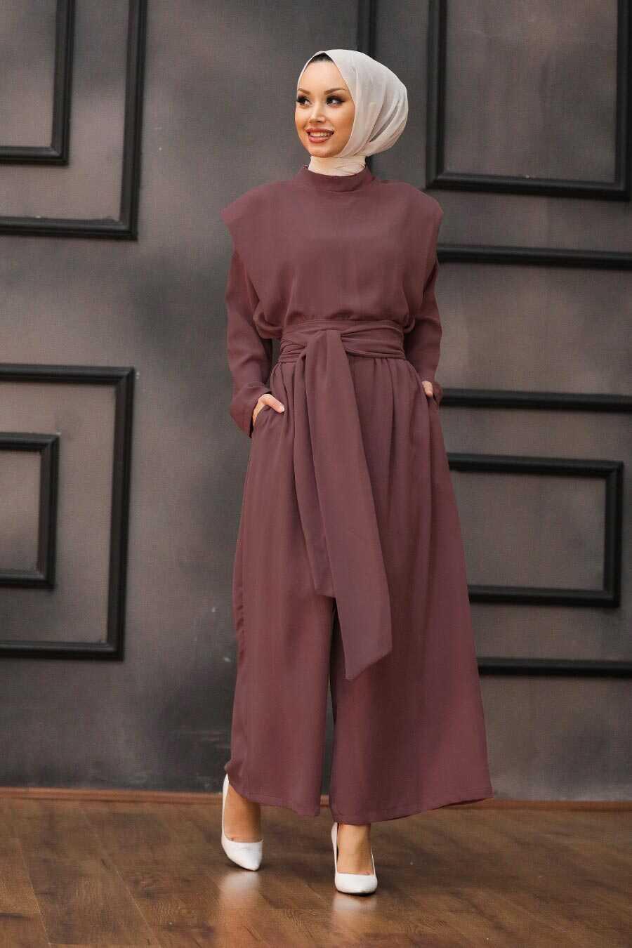 Dark Dusty Rose Hijab Dual Suit Dress 1471KGK