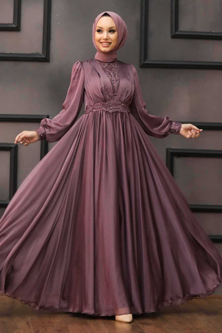 Dark Dusty Rose Hijab Evening Dress 21540KGK
