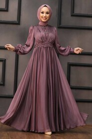 Dark Dusty Rose Hijab Evening Dress 21540KGK - Thumbnail