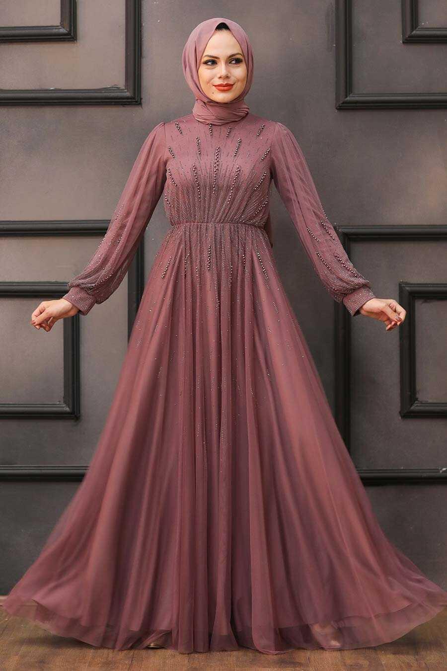 Dark Dusty Rose Hijab Evening Dress 22021KGK