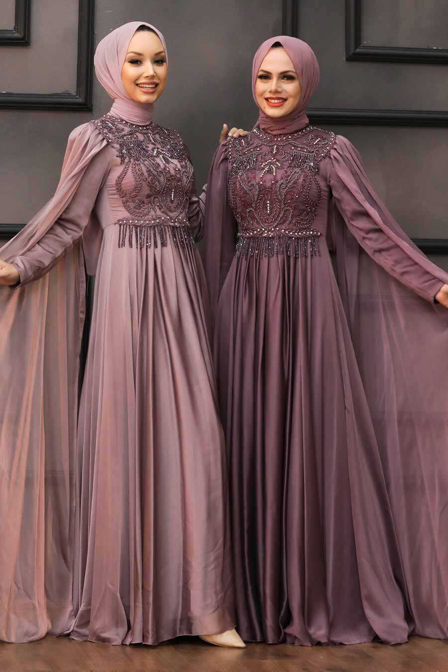 Dark Dusty Rose Hijab Evening Dress 22162KGK