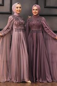Dark Dusty Rose Hijab Evening Dress 22162KGK - Thumbnail