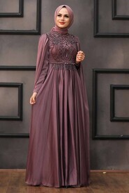 Dark Dusty Rose Hijab Evening Dress 22162KGK - Thumbnail