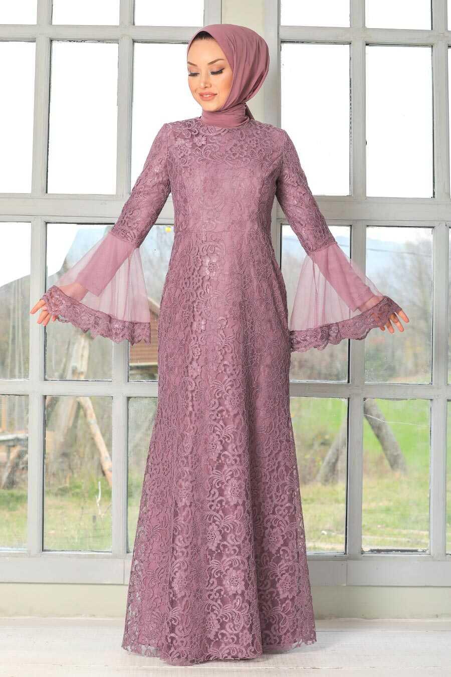 Dark Dusty Rose Hijab Evening Dress 2567KGK
