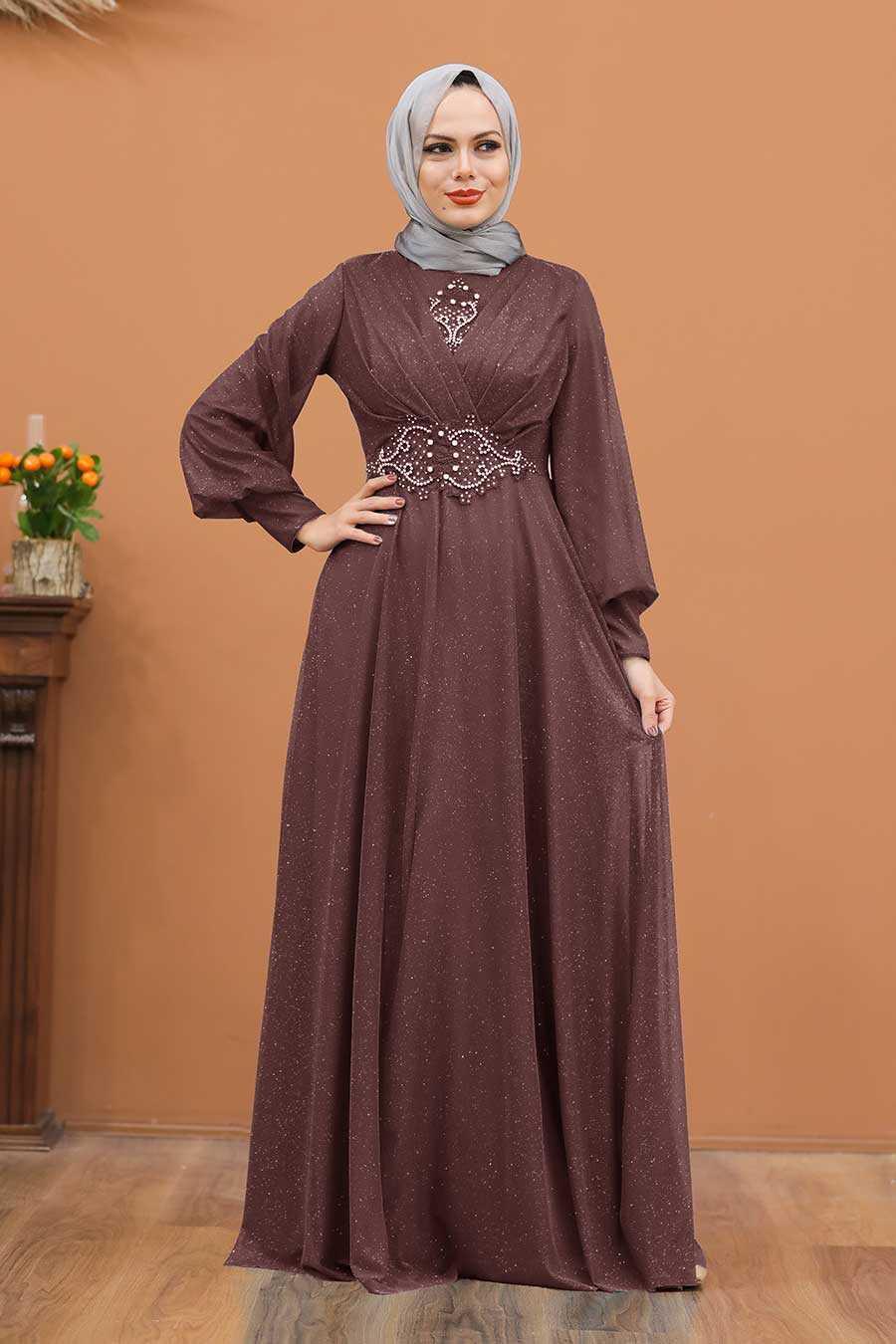 Dark Dusty Rose Hijab Evening Dress 50151KGK