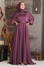 Dark Dusty Rose Hijab Evening Dress 5215KGK - Thumbnail