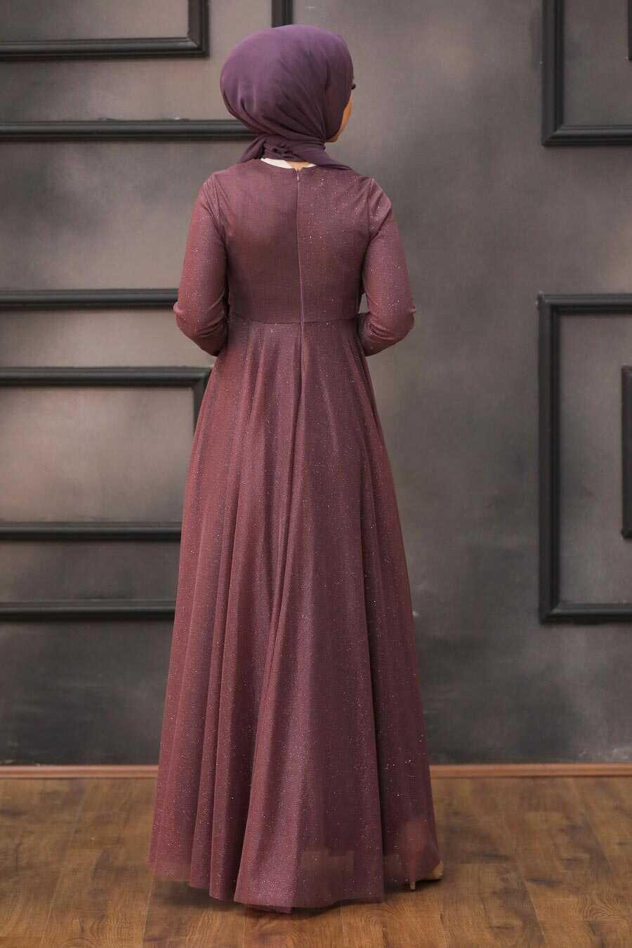 Dark Dusty Rose Hijab Evening Dress 5397KGK