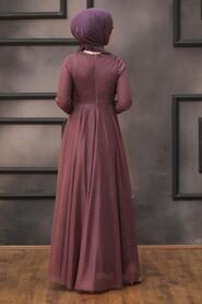 Dark Dusty Rose Hijab Evening Dress 5397KGK - Thumbnail