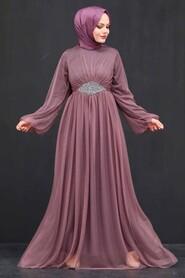 Dark Dusty Rose Hijab Evening Dress 54230KGK - Thumbnail