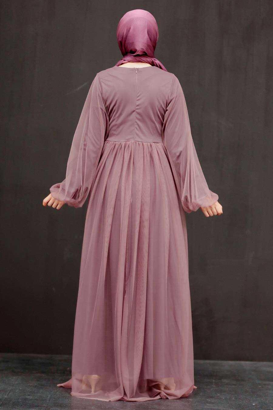 Dark Dusty Rose Hijab Evening Dress 54230KGK