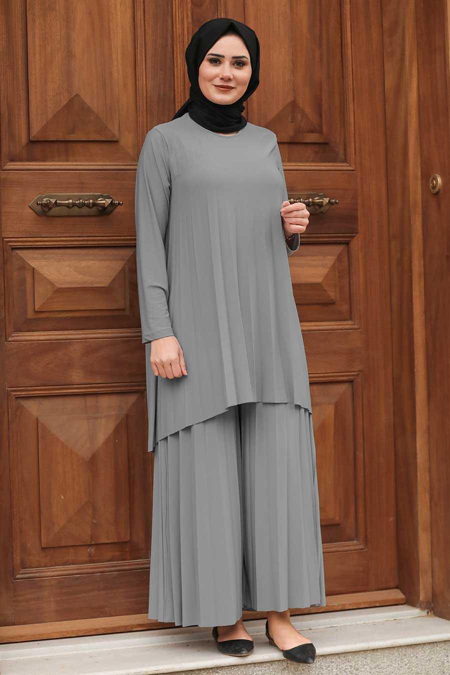 Dark Grey Hijab Dual Suit Dress 50054KGR