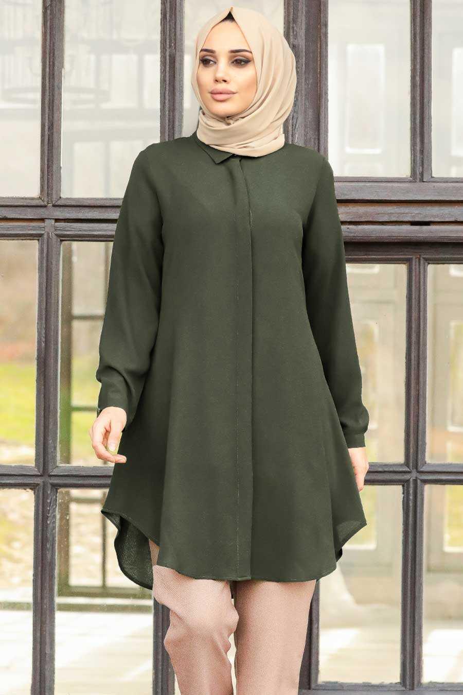 Dark Khaki Hijab Tunic 253KHK