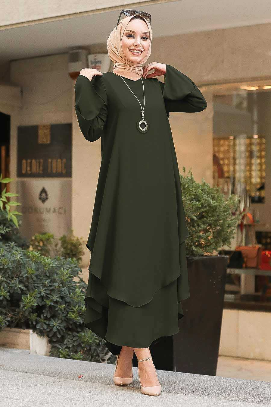 Dark Khaki Hijab Tunic 33170KHK