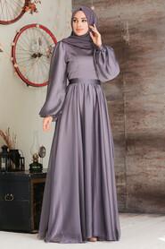 Dark Lila Hijab Evening Dress 5215KLILA - Thumbnail