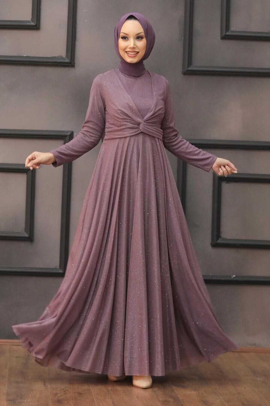 Dark Lila Hijab Evening Dress 5397KLILA