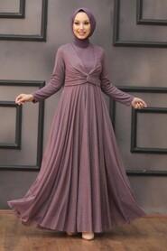 Dark Lila Hijab Evening Dress 5397KLILA - Thumbnail