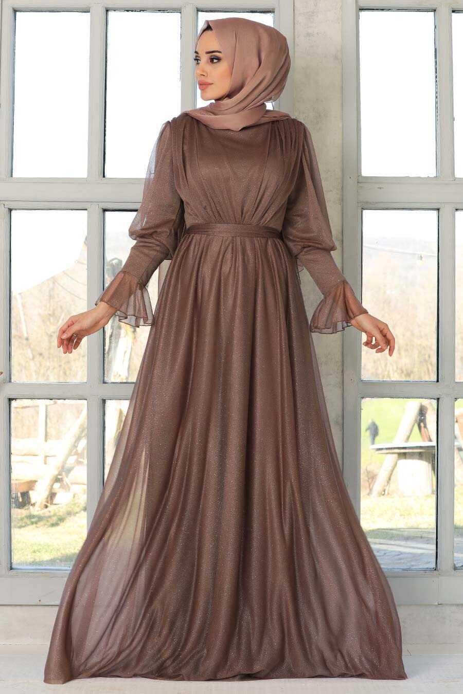 Dark Mink Hijab Evening Dress 5367KV