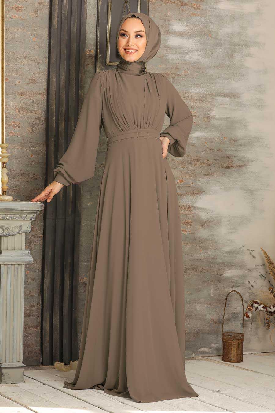 Dark Mink Hijab Evening Dress 5422KV