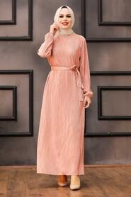 Dark Salmon Pink Hijab Dress 12151KSMN - Thumbnail