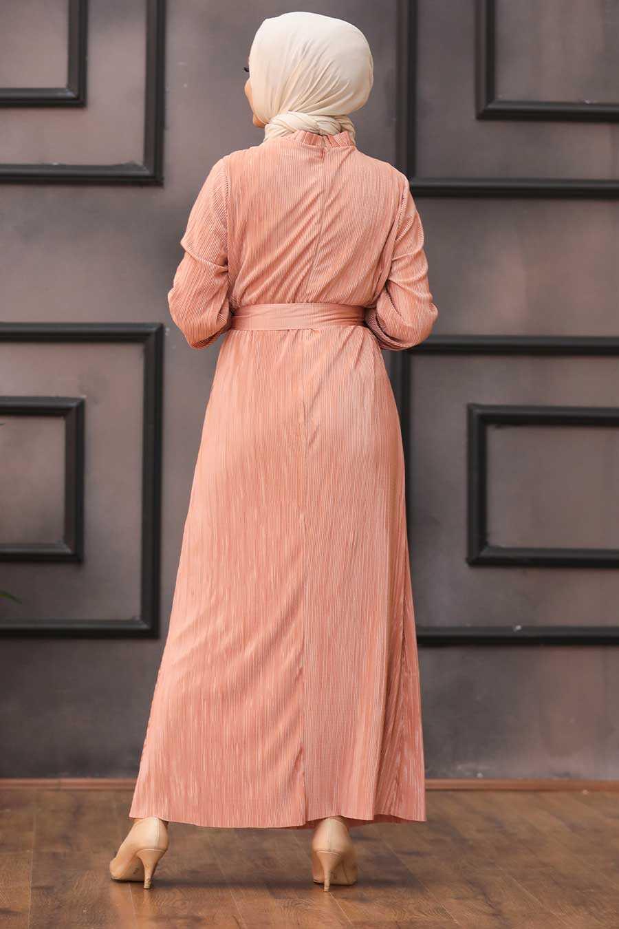 Dark Salmon Pink Hijab Dress 12151KSMN