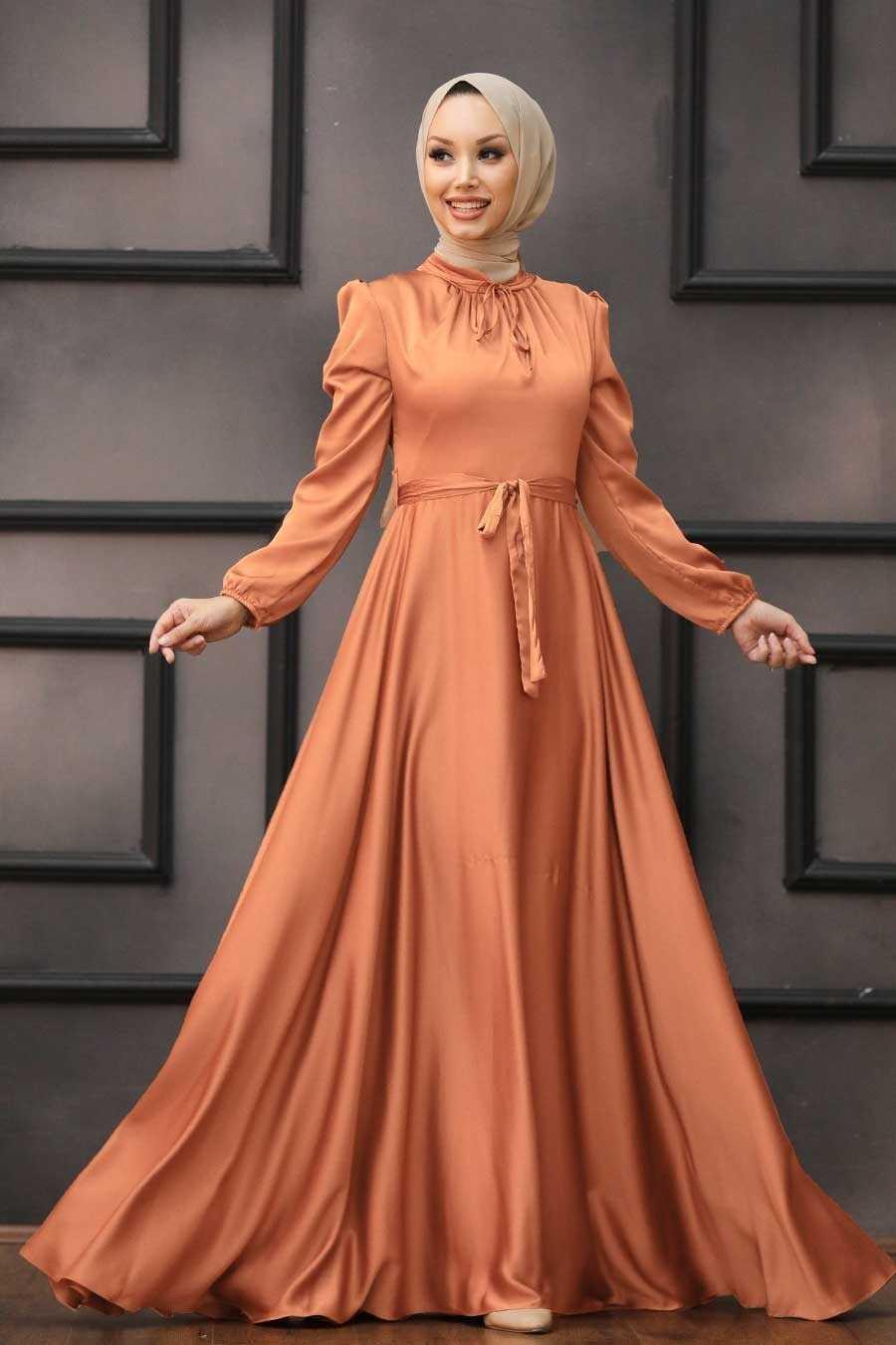 Dark Salmon Pink Hijab Evening Dress 25130KSMN