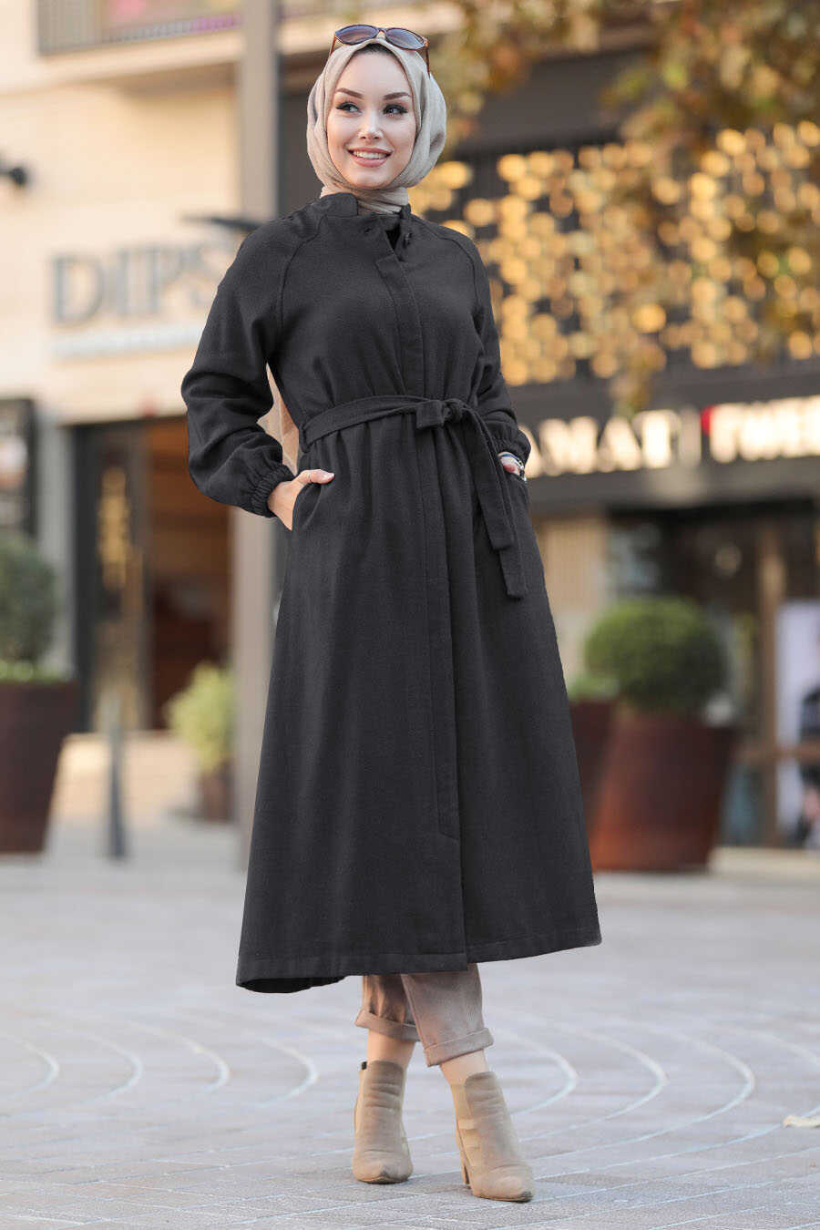 Dark Smoke Color Hijab Coat 55740KFU
