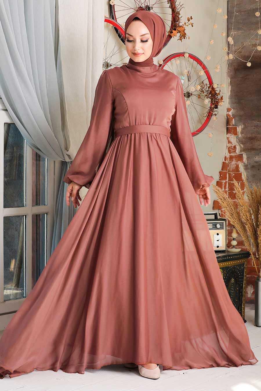 Dark Sunuff Colored Hijab Evening Dress 5215KTB