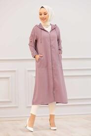 Dusty Rose Hijab Coat 14650GK - Thumbnail