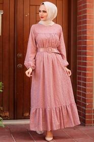 Dusty Rose Hijab Dress 1755GK - Thumbnail