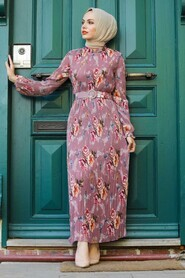Dusty Rose Hijab Dress 2894GK - Thumbnail